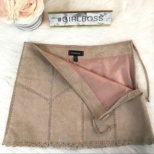 Bebe 100% Leather Scalloped Mini Skirt